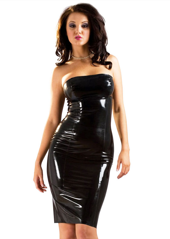 Robe bandeau en latex noir - Robe latex sadomaso
