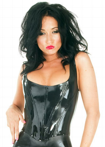 Top corset en latex noir - Bustier sadomaso en latex femme