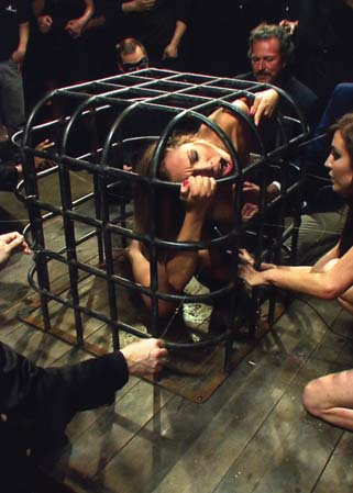 Hot local amateur locked in a cage - Soumise humiliée en public