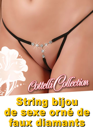 String bijou de sexe orné de faux diamants